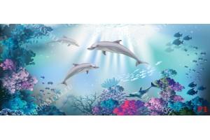 Фототапети морско дъно с делфини