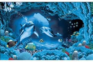 Фототапети 3D визуализация на морско дъно и делфини в 2 цвята
