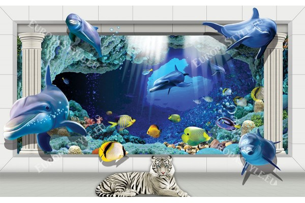 Фототапети 3д изглед с делфини и колони