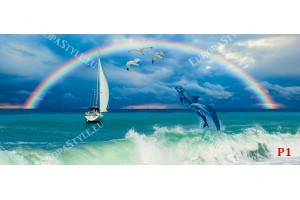 морски вълни и скачащи делфини фон с дъга