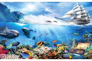 Фототапет 3D модел с морско дъно риби и кораб