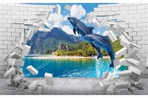 Фототапет разбита стена тухли със скачащи делфини