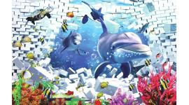 Фототапети 3д делфини и рибки разбита тухлена стена