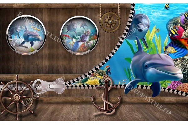 Фототапети 3D ефект стена с делфини и морски люкове