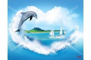 Фототапет морски пейзаж с делфин и морска вълна като сърце
