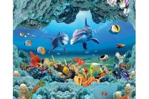 Фототапети морско дъно с 3д ефект корали -делфини-рибки