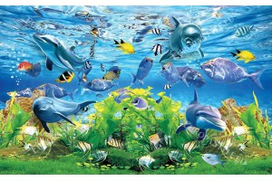Фототапети морско дъно с 3д ефект рисувани рибки и делфини ,водорасли