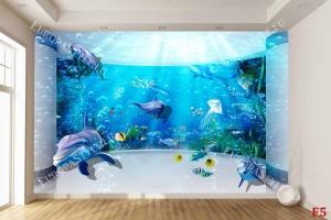 Фототапет овален аквариум 3д ефект с делфини и рибки