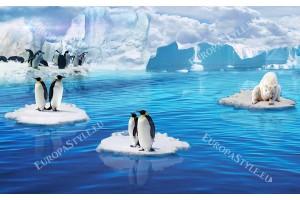 Фототапети ледник- пейзаж с пингвини и бяла мечка