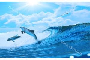 Фототапет двойка делфини и морски вълни