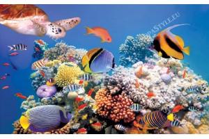 Фототапет морско дъно с риби и костенурка