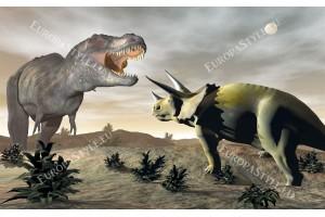 Фототапети с динозаври на сив фон и луна