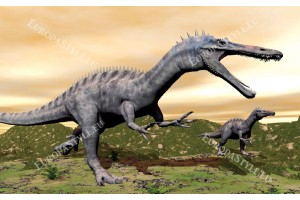 Фототапети с динозаври на бежов фон насред скали