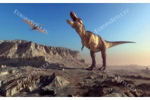 Фототапети с динозавър на фона на планина