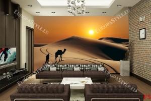 Фототапети изглед пустиня в оранжево и камила