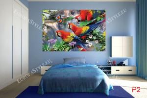 Фототапети с шарени папагали ара с цветя