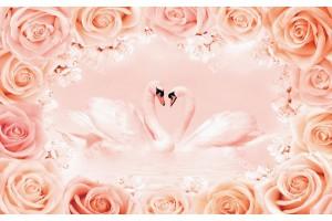 Фототапети двойка лебеди в рамка от рози в 2 цвята