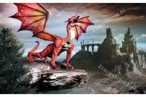 Фототапети 3D червен дракон на фон мистичен замък