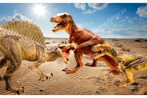Фототапети с динозаври на фон пустиня