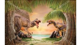 Фототапети с динозаври на фон морски бряг