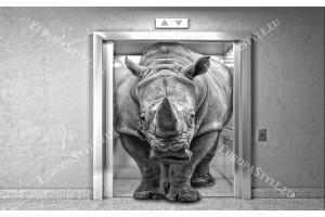 Фототапети с 3д ефект носорог в асансьор