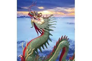 Фототапети прекрасен дракон на фон залез