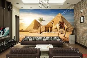 Фототапети атрактивен изглед с камила и пирамиди в пустиня