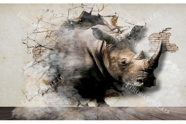 Фототапети 3D разбита стена мазилка със носорог