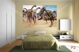 Фототапет бягащи динозаври в пустиня