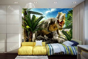 Фототапет голям динозавър край палмови дървета