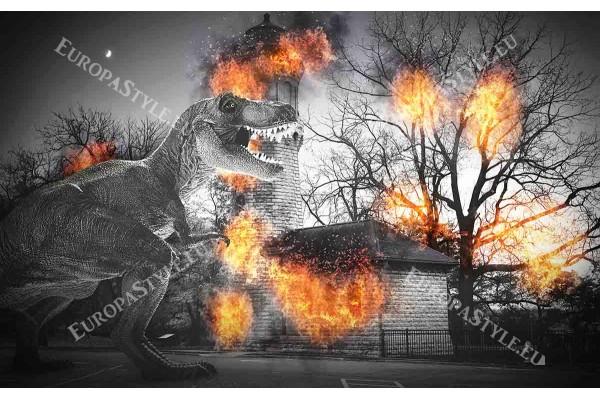 Фототапет опожарена сграда в пламъци с динозавър