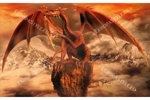 Фототапет голям червен дракон изглед планина