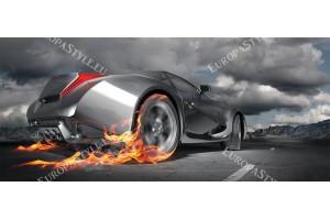 Фототапет сив спортен автомобил в пламъци