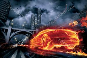 Фототапети автомобил в ярки пламъци
