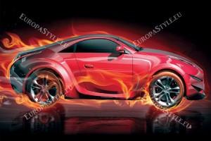 Фототапети червен автомобил в пламъци фон