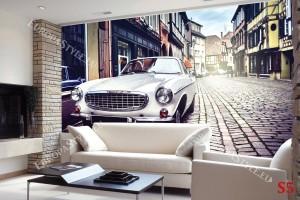 Фототапети ретро автомобил на улица с павета