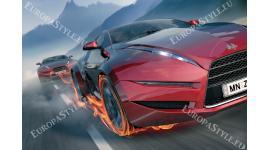 Фототапети красиви червени коли и пламъци