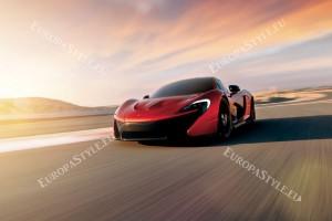 Фототапети красив червен автомобил на фон залез