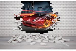 Фототапети спортна кола през разбита тухлена стена 2 варианта