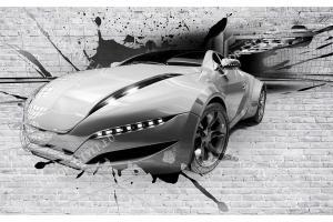 Фототапети автомобил излизащ от тунел върху тухлена стена