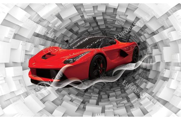 абстракция 3д спирала с червено ферари