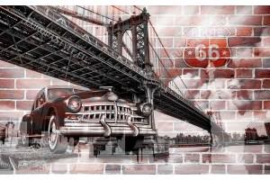 Фототапет ретро автомобил градски изглед от Ню йорк