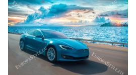Фототапет луксозна синя кола на пътя покрай морето