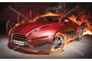 Фототапет червен спортен автомобил в пламъци