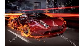 Фототапети спортна кола в пламъци