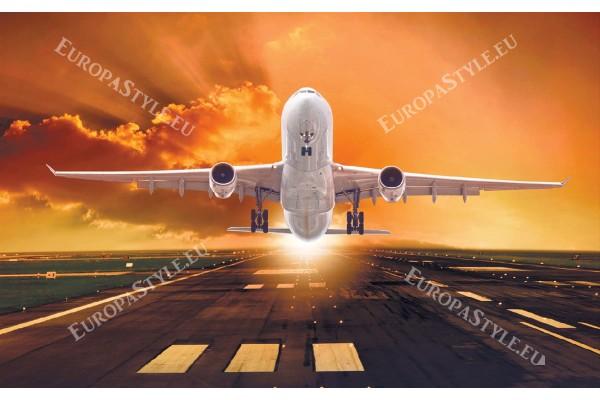 Фототапети самолет на фон оранжево небе