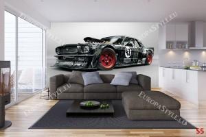 Фототапети спортен черен автомобил Мустанг