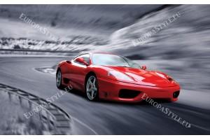 Фототапети червен спортен автомобил на сив фон