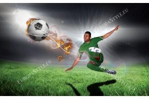 Фототапети футболист с топка на тъмен фон