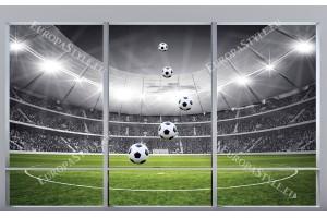Фототапети имитация на прозорец изглед стадион в 2 варианта